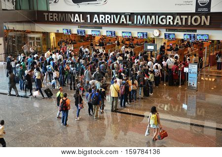 View Of Immigration Control At Changi International Airport In Singapore
