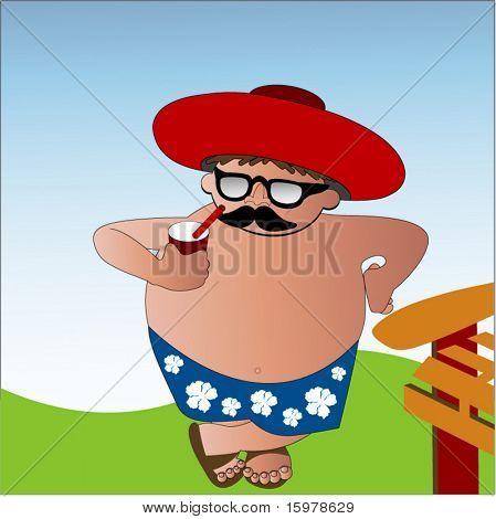 cartoon character kicking back -