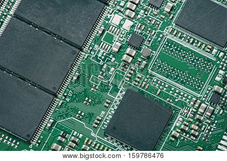 Close up of electronic circuit board with chip