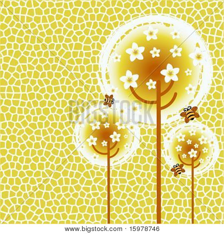 funky flower trees with bumble bees and seamless pattern background