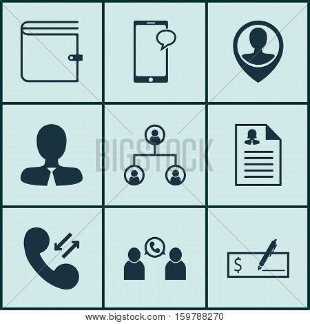 Set Of 9 Human Resources Icons. Can Be Used For Web, Mobile, UI And Infographic Design. Includes Elements Such As Purse, Pin, Call And More.