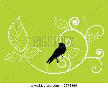 bird on coil with leaves