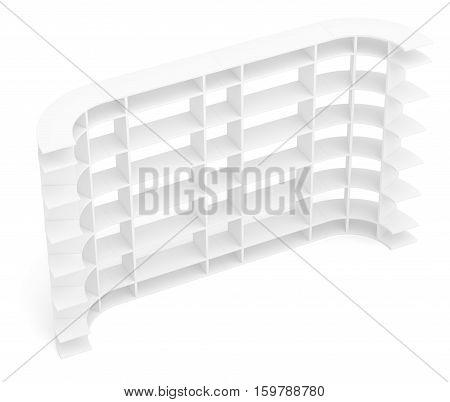 Big empty book shelves or rack. Top view. 3D rendering