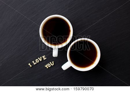Still Life with a declaration of love. A cup of coffee. Surprise for a loved one.