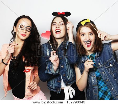 stylish sexy hipster girls best friends ready for party