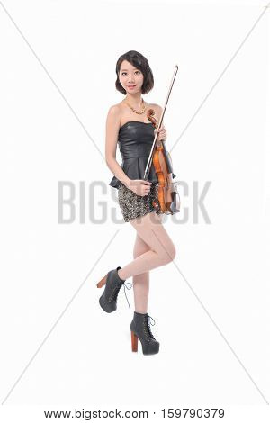 beautiful girl with violin isolated posing in studio
