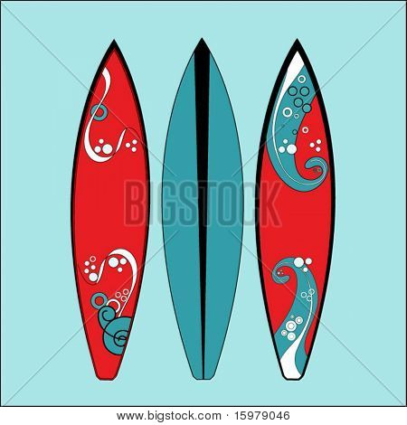 three surfboards