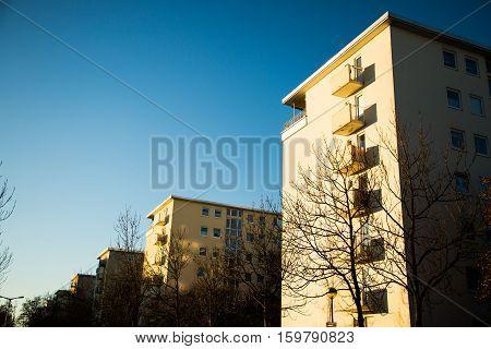 House row multiple family house in Munich Oberschleißheim blue sky