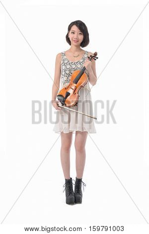 Full body beautiful girl with violin isolated on white background