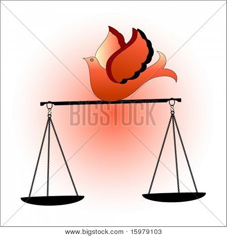dove on scales of justice