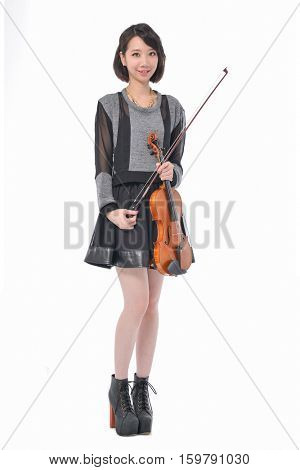 Full body young Asian woman holding violin isolated-white background