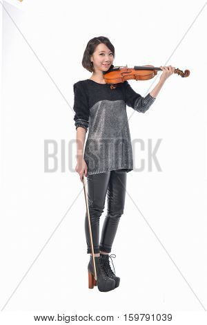 Full body young Asian woman playing violin isolated