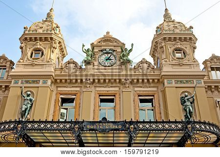 Monte Carlo Monaco - November 4 2016: Entrance to the Grand Casino in Monte Carlo Monaco. Grand Casino is one of the most notable buildings in Principality.