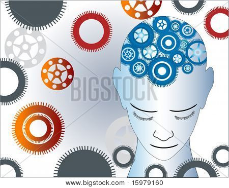 man with gears background
