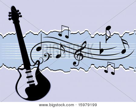 guitar with musical notes(change colors easily)