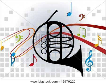 horn with musical notes