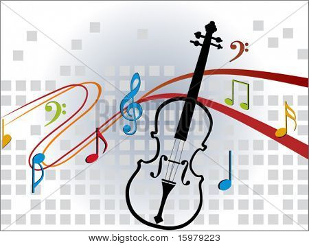 musical notes with violin (center cut out)