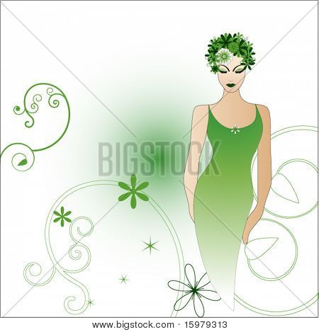 woman with flowers in hair with copy space