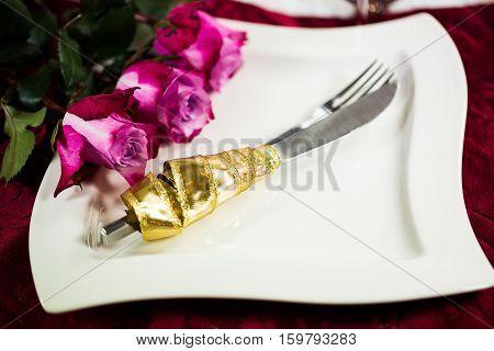 Christmas invitation plate cutlery roses, festive, dining
