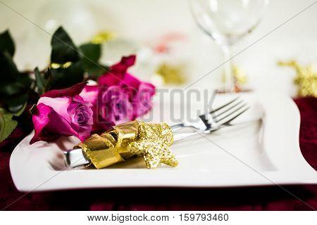 Christmas invitation plate cutlery roses, holiday christmas