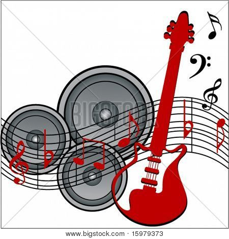 musical notes with speakers and guitar
