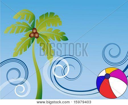 palmtree waves and beachball