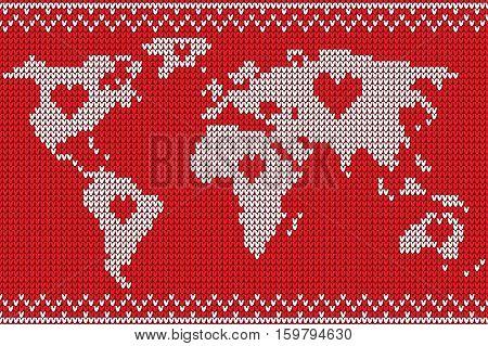 World map lovely knitting style, vector handmade illustration