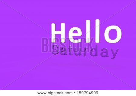 Hello Saturday 3d text rendering with purple background.