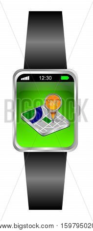 Smartwatch with You are Here Map Pointer - 3D illustration