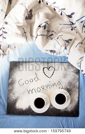 good morning inscription flour on a board-Valentine's day, sunny morning
