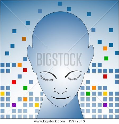 person's head with geometric background