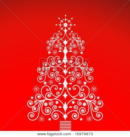 ornate christmas tree (grouped with separate elements)