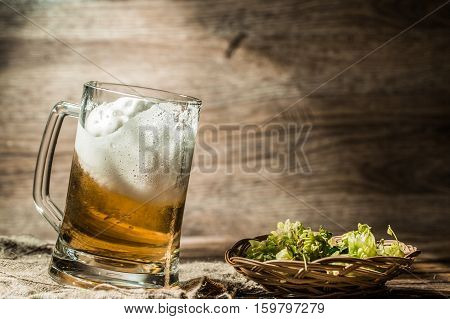 Frothy beer poured into mug standing on wooden table