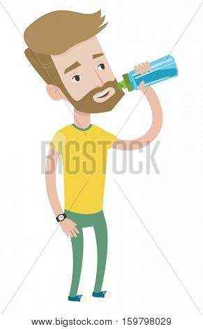 Sportive hipster man with the beard drinking water. Caucasian sportsman with bottle of water. Sportsman drinking water from the bottle. Vector flat design illustration isolated on white background.