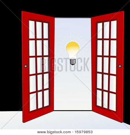 open door with light bulb (open door to new ideas concept