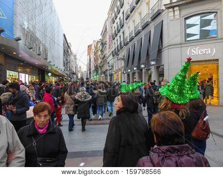 Preciados Street In Christmas Time