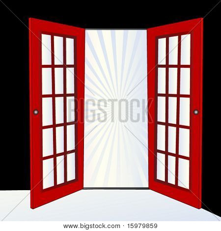 open door with burst