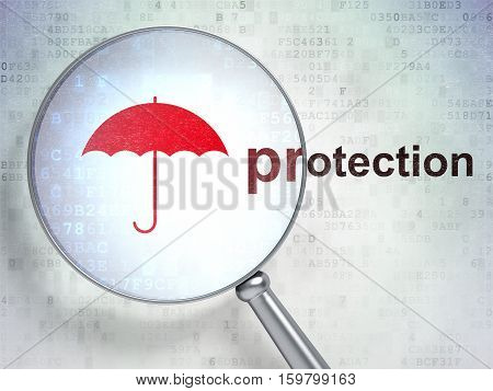 Safety concept: magnifying optical glass with Umbrella icon and Protection word on digital background, 3D rendering