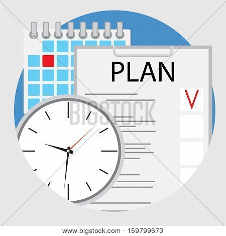 Planning and organization of time flat icon vector. Plane and strategy planning process schedule illustration of strategic planning