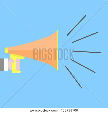 Screaming megaphone shout. Speaker announcement use megafone shout and communication vector illustration