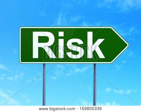 Business concept: Risk on green road highway sign, clear blue sky background, 3D rendering