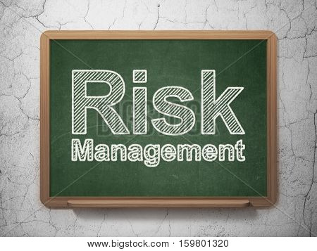 Business concept: text Risk Management on Green chalkboard on grunge wall background, 3D rendering