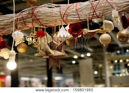 beautiful Christmas decorations in the lobby of the building.