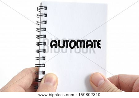 Automate text concept isolated over white background