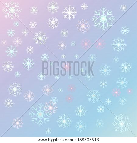 Vector illustration Christmas serenity snowflakes on a rose quartz background. Starfall