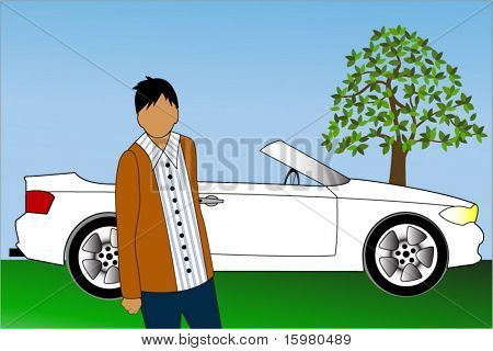 young male with car