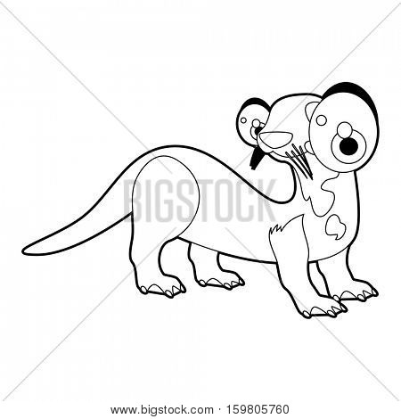 Coloring book page. Funny cartoon comic cool nice animals. Otter