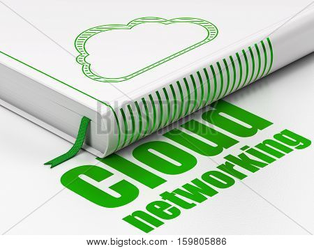 Cloud networking concept: closed book with Green Cloud icon and text Cloud Networking on floor, white background, 3D rendering