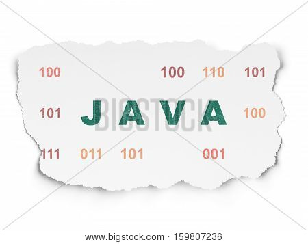Database concept: Painted green text Java on Torn Paper background with  Binary Code