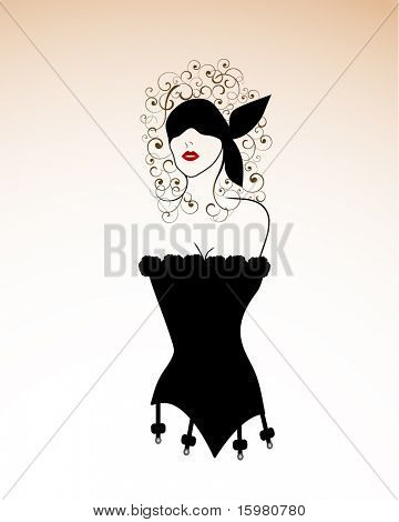 stylized woman in corset and blindfold